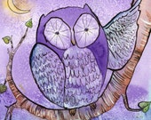 Cute Purple Owl Watercolor and Ink Painting