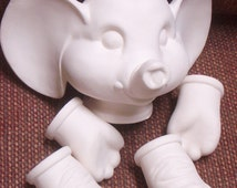 Ready to Paint Ceramic Bisqued Elephant Doll with Stuffed Body for Assembling