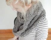 chunky crochet circle scarf in grey