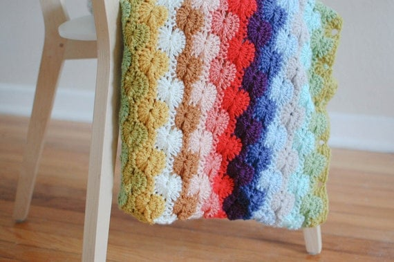 crochet rainbow throw blanket