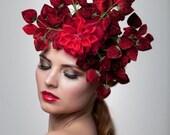 Strawberries headpiece, Fascinator, Lady gaga hat, derby hat, Melbourne cup fascinator