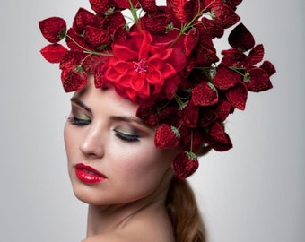 Strawberries headpiece, Fascinator, Lady gaga hat, derby hat, Melbourne cup fascinator
