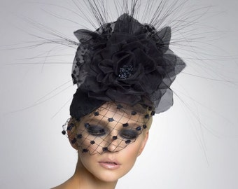 Black Couture Fascinator, Cocktail hat, Derby Hat, Headpiece, Couture Hat