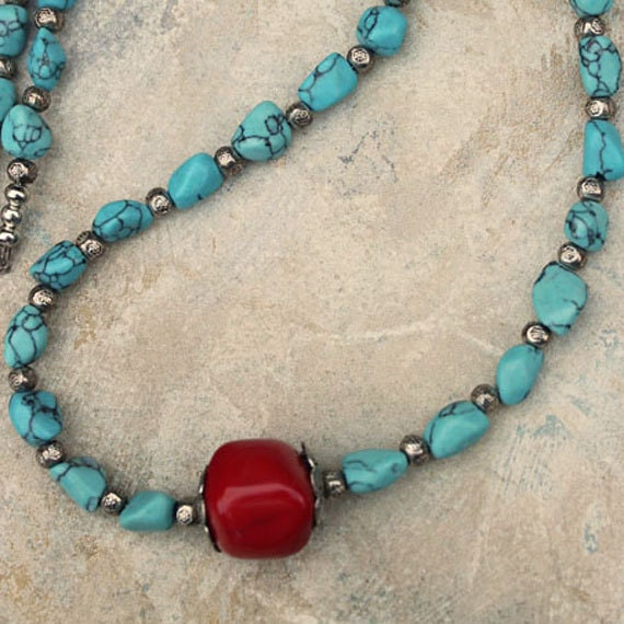 Handmade Turquoise Jewelry, Little Cherry, Turquoise and Cherry Coral Necklace, Summer Fashion