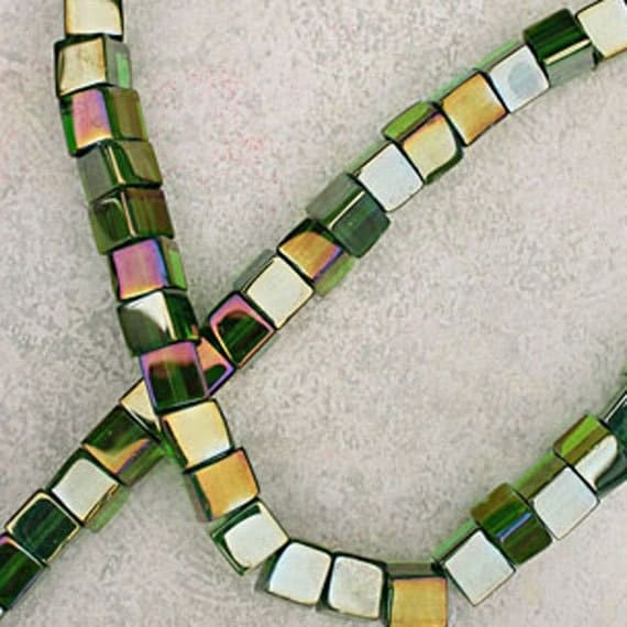 Jewelry Supplies Destash Bargain Beads, Green and Gold, Cubed Glass Beads