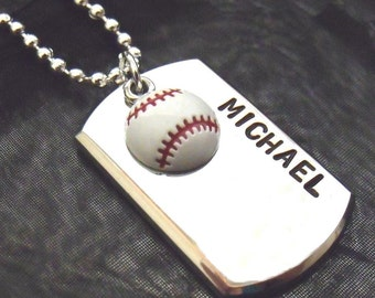 BASEBALL SUPERSTARS - Hand Stamped Dog Tag Personalized for YOUR Number One Athlete