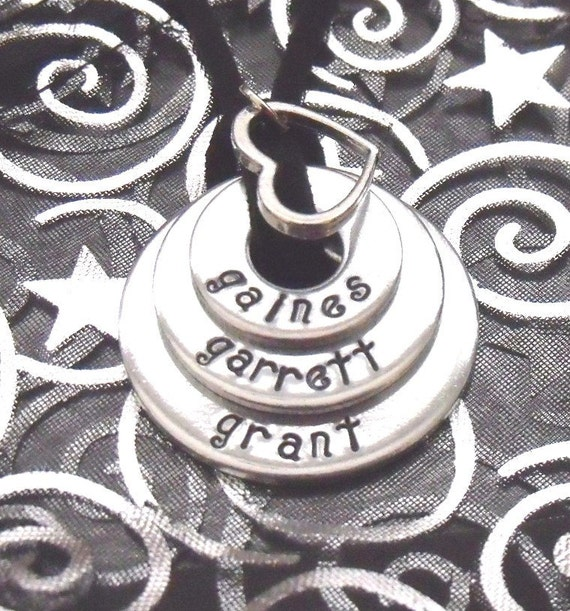 Family Blessings - Custom Hand Stamped Triple Pendant with Heart Charm