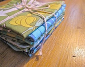 cloth napkins blue green yellow patterned