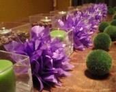 10 Grape Paper Dahlias. Napkin rings, eco wedding, home decor, baby shower, birthday party. Tissue paper pom pom
