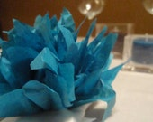 10 Peacock paper Dahlia napkin holders. Perfect for weddings, baby showers, dinner parties, home decor. Tissue paper pom pom flowers.