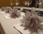10 Light Gray Paper Dahlia Napkin Rings. Perfect for dinner parties, birthdays, home decor, Halloween, baby showers. Tissue paper pom poms.