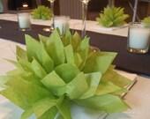 10 Aloe Green Paper Dahlia Napkin Rings. Perfect for weddings, receptions, baby showers, decor, birthdays. Tissue paper pom poms.