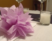 10 Lilac Paper Dahlia Napkin Rings. Perfect for weddings, baby showers, dinner parties, birthdays, decor. Tissue paper pom pom