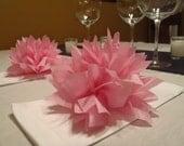 10 Raspberry Paper Dahlia Napkin Rings. Perfect for weddings, receptions, baby showers, decor, birthdays. Tissue paper pom poms.