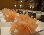 10 Peach Paper Dahlias. Napkin rings perfect for weddings, parties and baby showers. Tissue Paper Pom Pom flowers