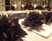 10 Onyx Black Paper Dahlia Napkin Rings. Perfect for dinner parties, birthdays, home decor, halloween. Tissue paper pom pom flowers.