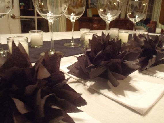 25 Onyx Black Paper Dahlia Napkin Holders. Perfect for birthdays, Halloween, dinner parties, home decor. Tissue paper pom poms.