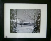 Framed 11x14 Print Snowy Bridge with Trees