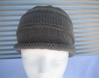 Boys Bucket Hat with Rolled Hem- Handknitted