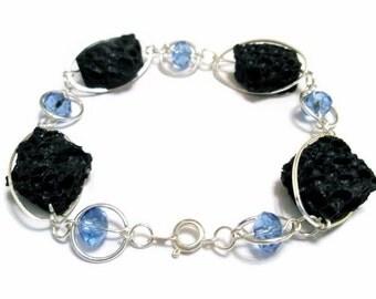 Bracelet Silver volcanic Lava Sapphire blue swarovski crystal blue bridal jewelry