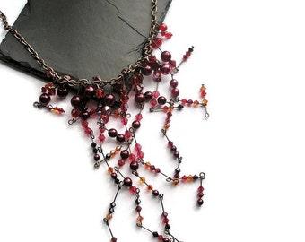 Necklace Red pearl winter wedding Swarovski crystal  cluster jewelry waterfall bib