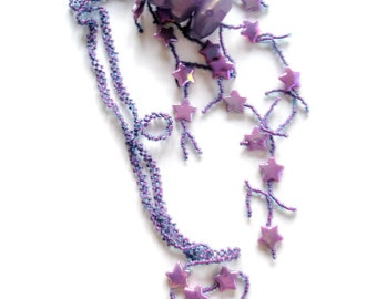 Jewelry Star necklace Purple bead stitched necklace embellished with stars and rocks right angle weave necklace
