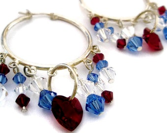 Swarovski Red White and Blue Crystal chandelier earrings