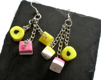 polymer clay earrings yellow pink black white dangle Liquorice all sorts dolly mixtures