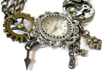 Bracelet Steampunk Watch jewelry cogs hands gears charms Swarovski crystal Jewellery made to order