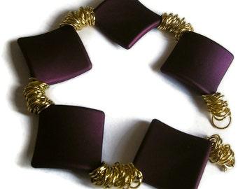 High Fashion Bracelet Purple Diamond shaped soft touch  Beads Gold chain Arm candy handmade by fruttituttibeadcandy UK seller