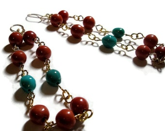 Gold Chain earrings Turquoise and coral coloured Beaded