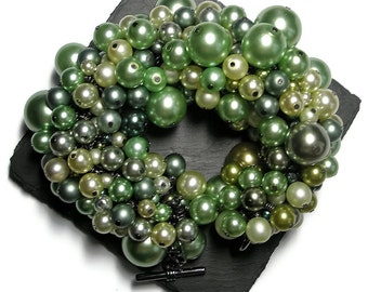 Statement Bracelet Green glass pearls chunky jewelry  special occasion jewellery emerald mint jade olive green by frutti tutti bead candy