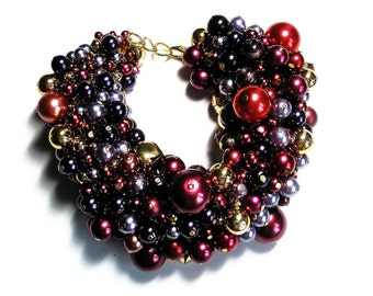 Bracelet cluster Pearl bell gold chunky jewelry Statement  Purple Red and Gold