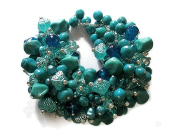 Bracelet Turquoise chunky Cluster silver beaded statement blue