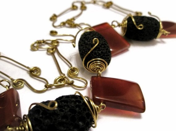 Red Agate Necklace wire wrapped Brass Volcanic black lava Jewelry
