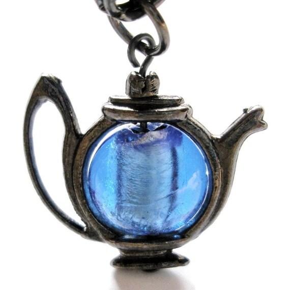 Charm Bracelet Teapot  blue Antique Black chainmaille