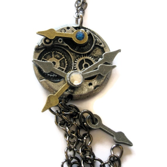 Steampunk Jewelery Necklace Watch face clock hands steampunk cogs chain