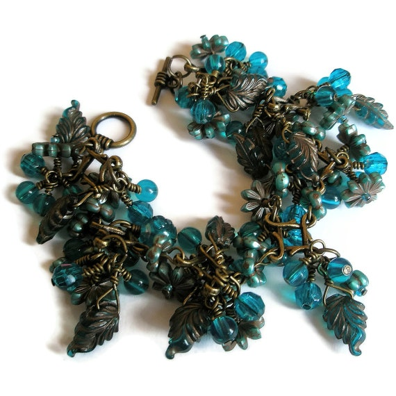 Antique Brass Wire wrapped turquoise beaded vintage style Charm Bracelet