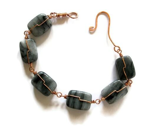 Wire Wrapped Bracelet Copper wire wrapped jewellery Grey Quartz Gray marble everyday elegant
