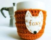 Fox Funny Coffee Mug Cozy Tea Cup foxy burnt orange brown fall autumn crochet handmade cover