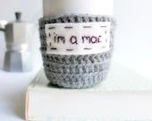 Mac funny coffee mug cozy tea cup gray crochet handmade cover