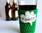 Pub Pint Glass Beer Cozy kelly green Slainte shamrock crochet handmade