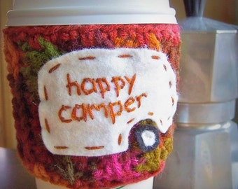 Happy Camper funny travel coffee mug cozy handmade cover