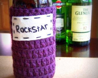 Bottle Cozy, rockstar, crochet, handmade, beer bottle, water bottle, soda can, purple, rock and roll, musician, stocking stuff, men's