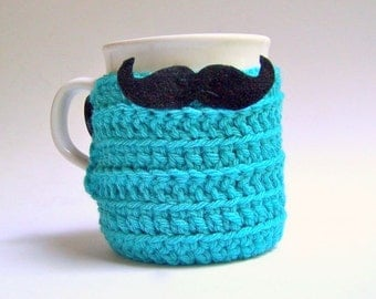 Coffee Cozy Handlebar Mustache turquoise black hipster cover