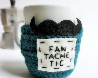 Mustache Mug Cozy Coffee Mug Tea Cup Cosy teal black crochet handmade cover