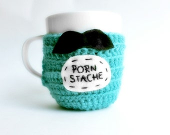 Funny Coffee Mug Cozy Tea Cup Porn Stache turquoise black crochet handmade cover