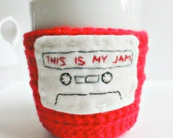 Funny coffee mug cozy tea cup red white This is my jam crochet handmade cover