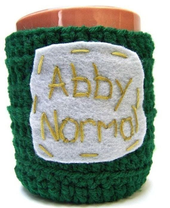 Coffee Mug Cozy, Tea Cup cozy, cosy, Abby Normal, green, gray, crochet, cover, funny mug, handmade, halloween, gag gift, left handed