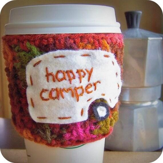 Happy Camper funny travel coffee mug cozy handmade cover